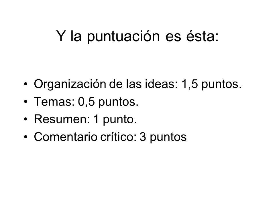 Y la puntuación es ésta: Organización de las ideas: 1,5 puntos.