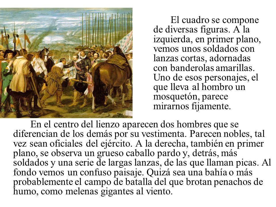 En el centro del lienzo aparecen dos hombres que se diferencian de los demás por su vestimenta. Parecen nobles, tal vez sean oficiales del ejército. A