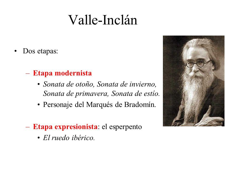 Valle-Inclán Dos etapas: –Etapa modernista Sonata de otoño, Sonata de invierno, Sonata de primavera, Sonata de estío.