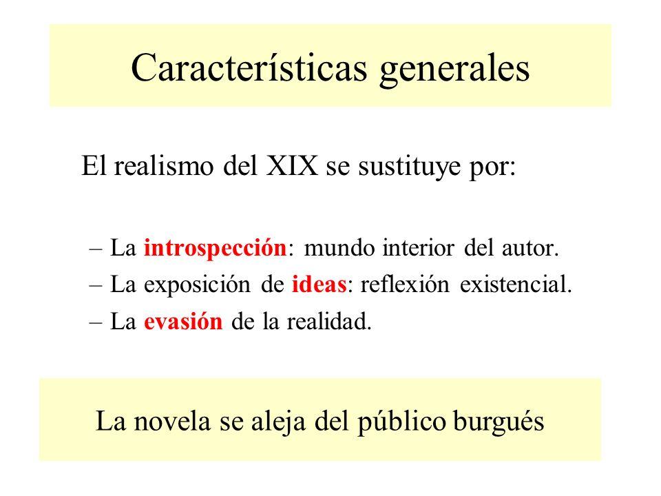 Características generales El realismo del XIX se sustituye por: –La introspección: mundo interior del autor.