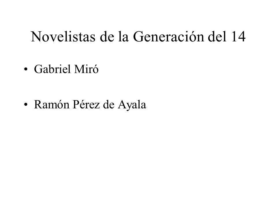 Novelistas de la Generación del 14 Gabriel Miró Ramón Pérez de Ayala