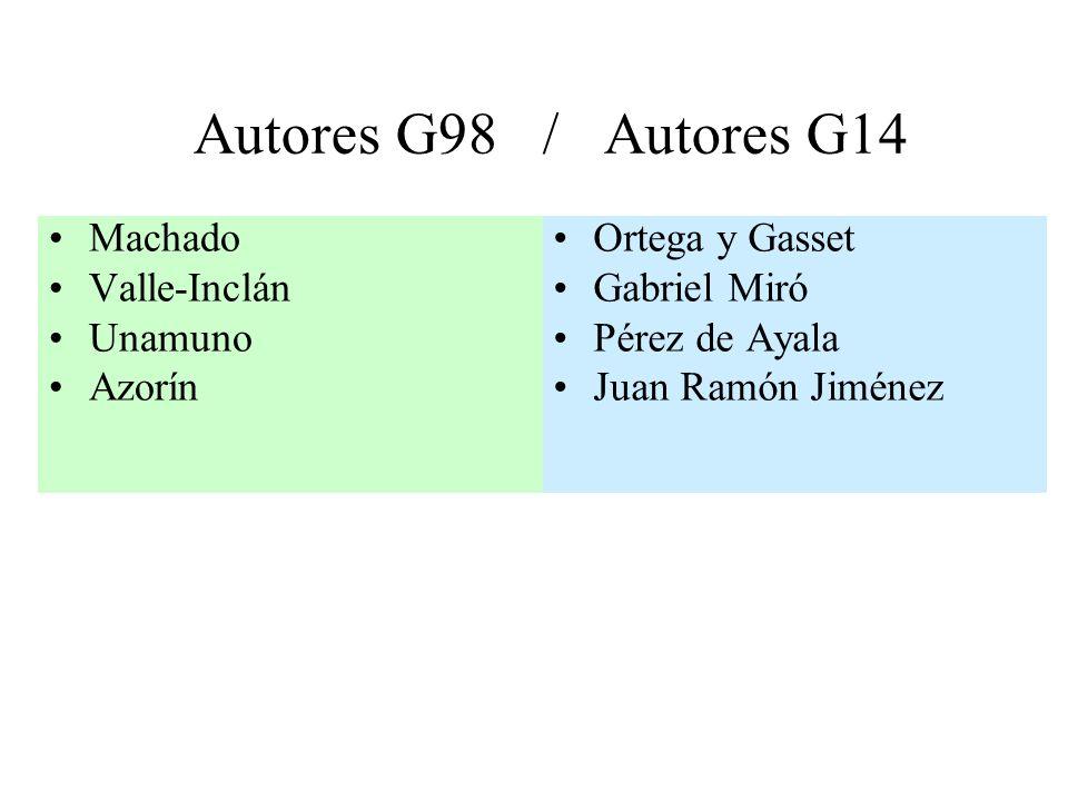 Autores G98 / Autores G14 Machado Valle-Inclán Unamuno Azorín Ortega y Gasset Gabriel Miró Pérez de Ayala Juan Ramón Jiménez