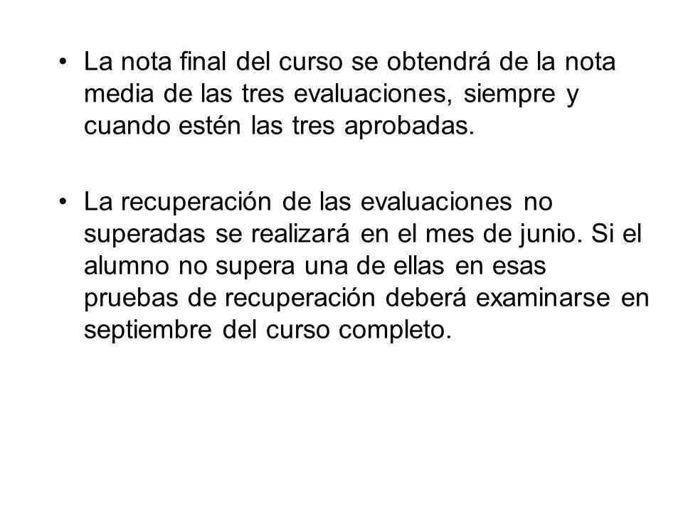 La nota final del curso se obtendrá de la nota media de las tres evaluaciones, siempre y cuando estén las tres aprobadas. La recuperación de las evalu