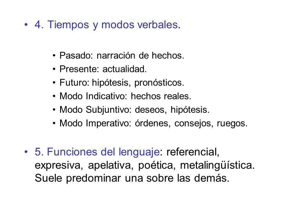 4. Tiempos y modos verbales. Pasado: narración de hechos. Presente: actualidad. Futuro: hipótesis, pronósticos. Modo Indicativo: hechos reales. Modo S