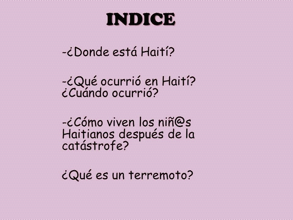 INDICE -¿Donde está Haití. -¿Qué ocurrió en Haití.