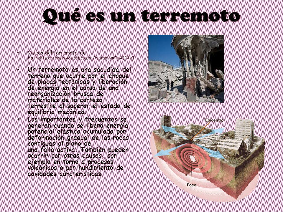 Qué es un terremoto Videos del terremoto de haiti :http://www.youtube.com/watch v=Tu4EFXIYi u Un terremoto es una sacudida del terreno que ocurre por el choque de placas tectónicas y liberación de energía en el curso de una reorganización brusca de materiales de la corteza terrestre al superar el estado de equilibrio mecánico.
