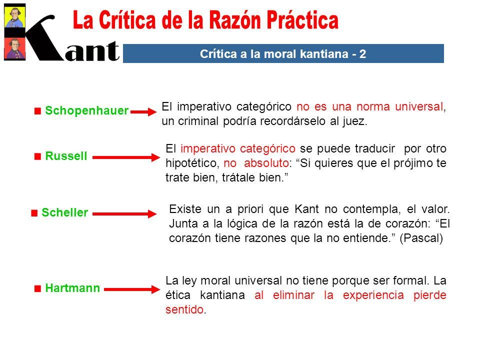 Crítica a la moral kantiana - 2 Hartmann La ley moral universal no tiene porque ser formal. La ética kantiana al eliminar la experiencia pierde sentid
