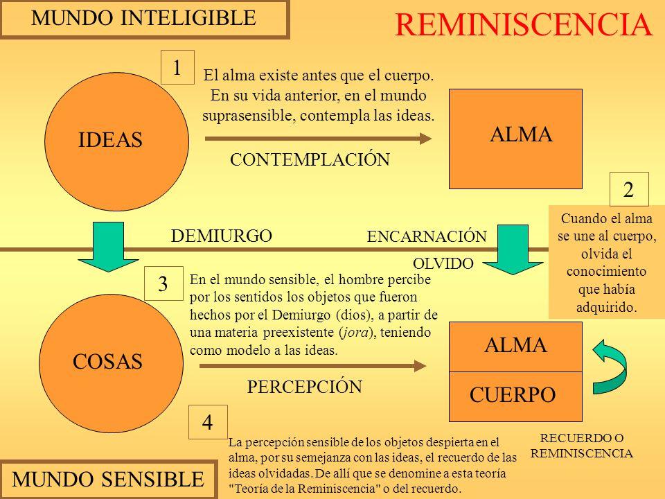 MUNDO INTELIGIBLE MUNDO SENSIBLE IDEAS COSAS ALMA CUERPO CONTEMPLACIÓN PERCEPCIÓN ENCARNACIÓN OLVIDO DEMIURGO RECUERDO O REMINISCENCIA El alma existe