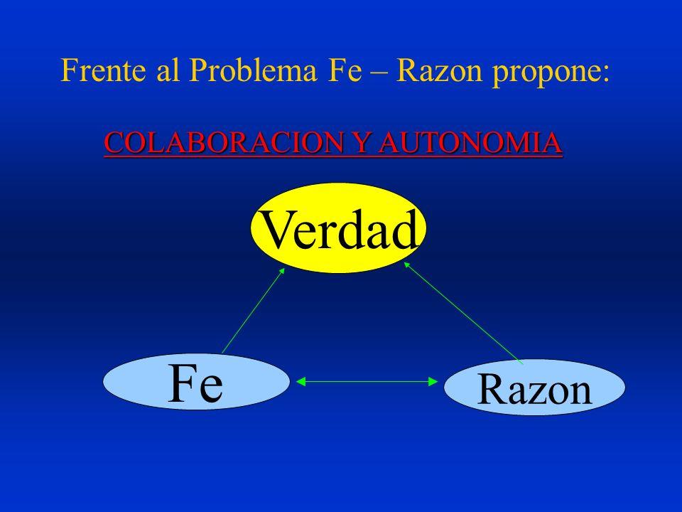 Frente al Problema Fe – Razon propone: Verdad Fe Razon COLABORACION Y AUTONOMIA