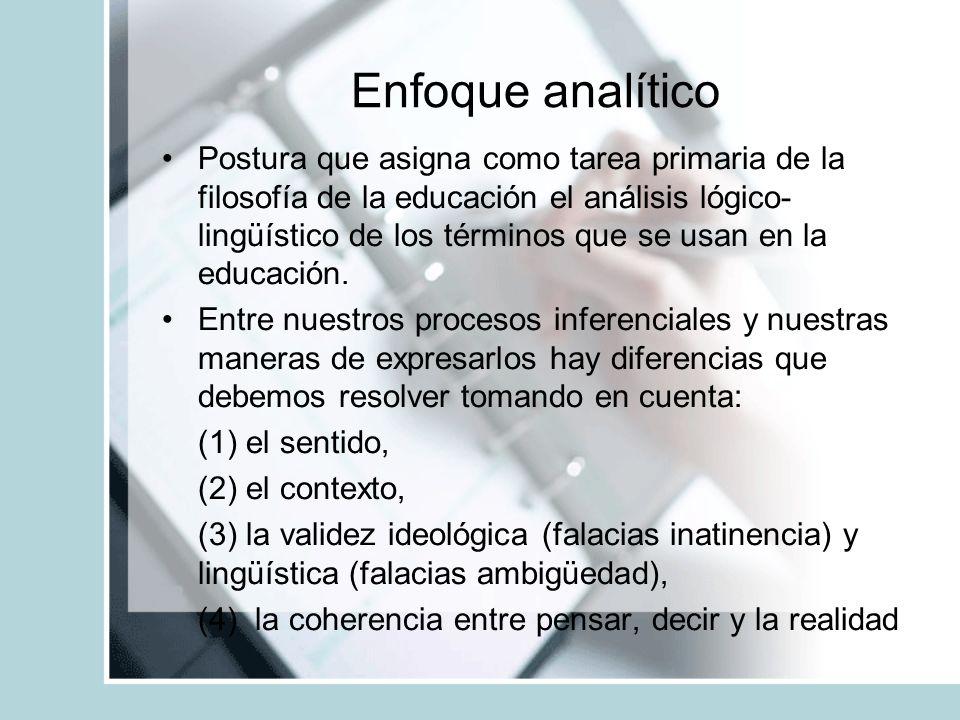 Enfoque analítico Postura que asigna como tarea primaria de la filosofía de la educación el análisis lógico- lingüístico de los términos que se usan e