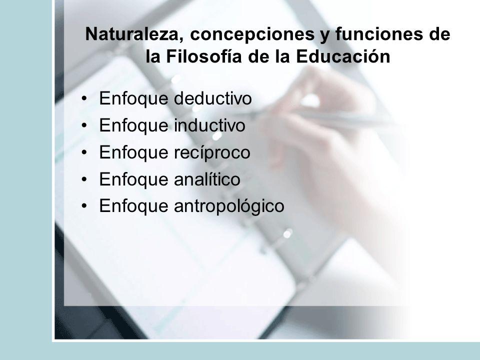 Naturaleza, concepciones y funciones de la Filosofía de la Educación Enfoque deductivo Enfoque inductivo Enfoque recíproco Enfoque analítico Enfoque a