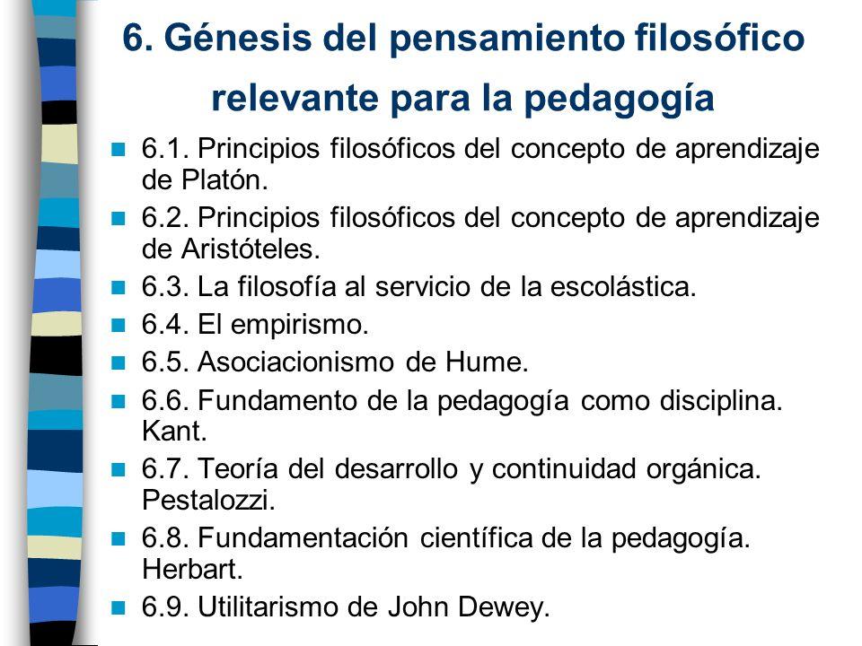 6. Génesis del pensamiento filosófico relevante para la pedagogía 6.1. Principios filosóficos del concepto de aprendizaje de Platón. 6.2. Principios f