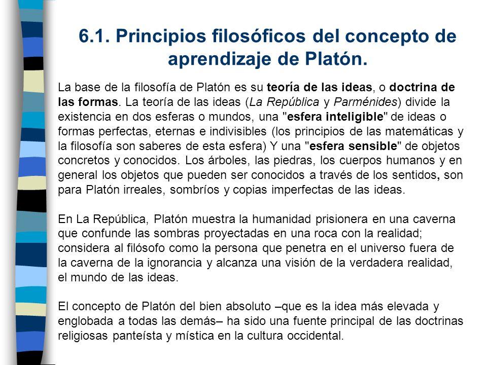 6.1. Principios filosóficos del concepto de aprendizaje de Platón. La base de la filosofía de Platón es su teoría de las ideas, o doctrina de las form