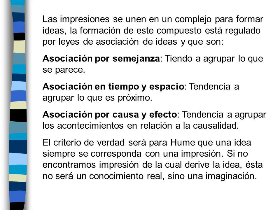 Las impresiones se unen en un complejo para formar ideas, la formación de este compuesto está regulado por leyes de asociación de ideas y que son: Aso