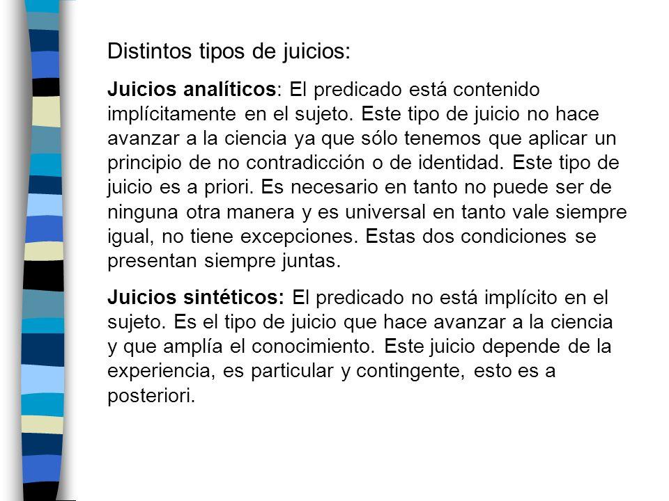 Distintos tipos de juicios: Juicios analíticos: El predicado está contenido implícitamente en el sujeto. Este tipo de juicio no hace avanzar a la cien