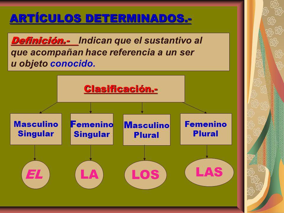 ARTÍCULOS DETERMINADOS.- Definición.- Definición.- Indican que el sustantivo al que acompañan hace referencia a un ser u objeto conocido. Clasificació