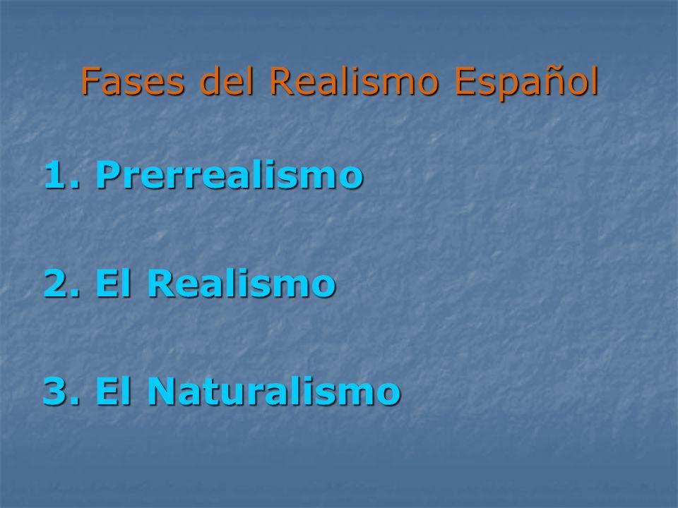 Fases del Realismo Español 1. Prerrealismo 2. El Realismo 3. El Naturalismo