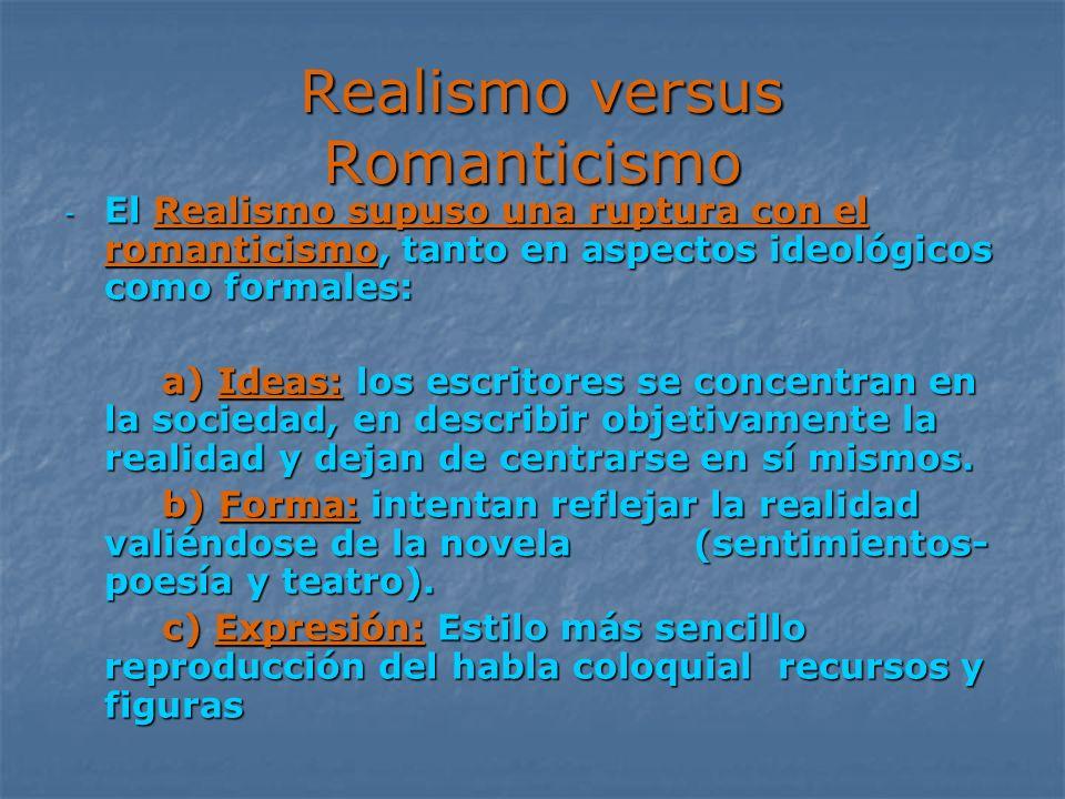 Realismo versus Romanticismo Realismo versus Romanticismo - El Realismo supuso una ruptura con el romanticismo, tanto en aspectos ideológicos como for
