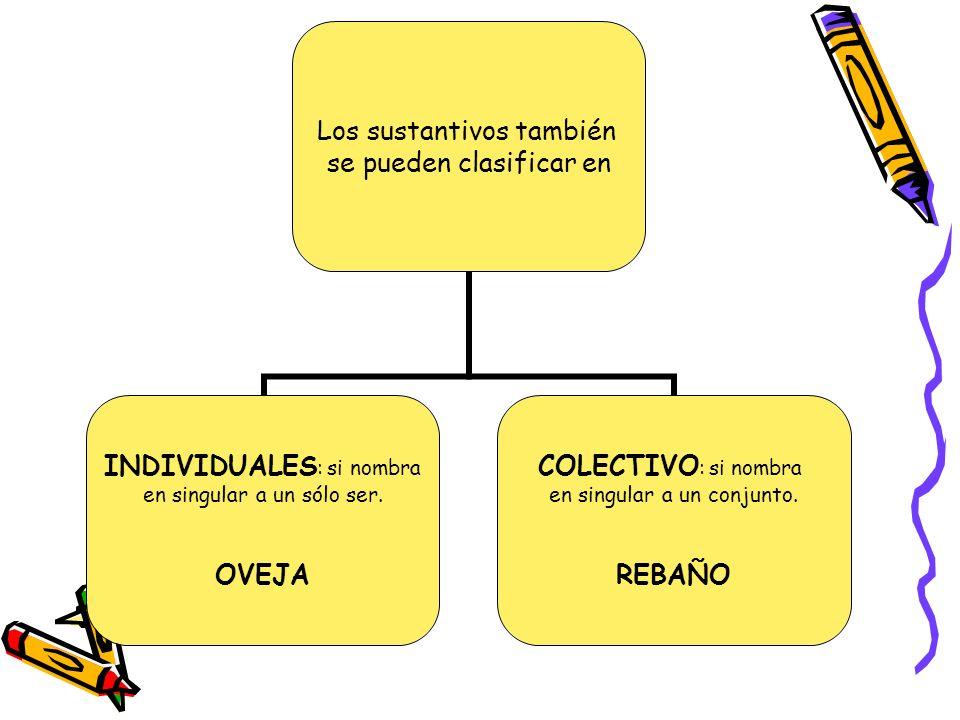 Los sustantivos también se pueden clasificar en INDIVIDUALES: si nombra en singular a un sólo ser. OVEJA COLECTIVO: si nombra en singular a un conjunt