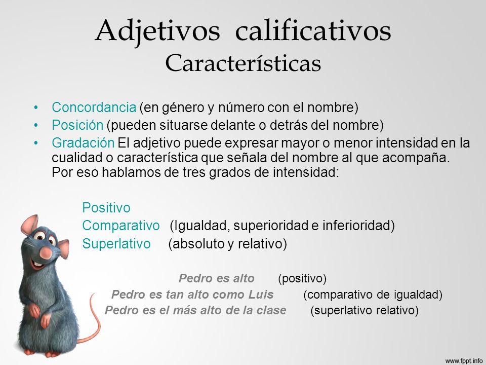 Adjetivos calificativos Características Concordancia (en género y número con el nombre) Posición (pueden situarse delante o detrás del nombre) Gradaci