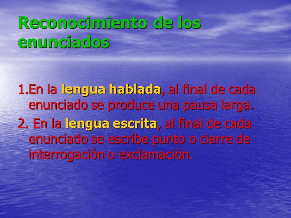 Reconocimiento de los enunciados 1.En la lengua hablada, al final de cada enunciado se produce una pausa larga. 2. En la lengua escrita, al final de c