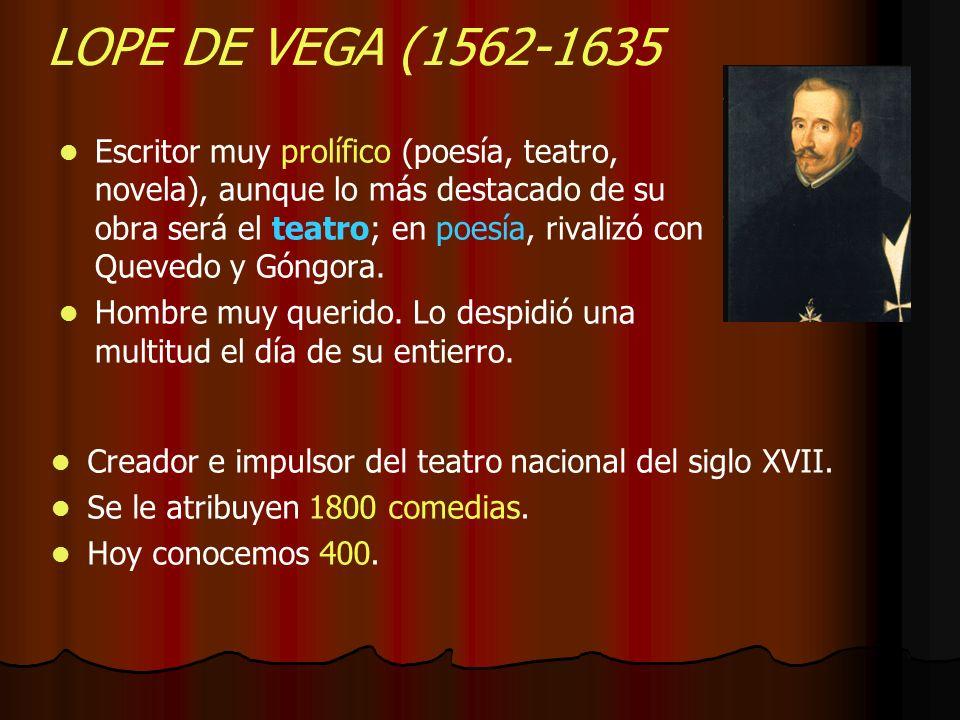LOPE DE VEGA (1562-1635 Escritor muy prolífico (poesía, teatro, novela), aunque lo más destacado de su obra será el teatro; en poesía, rivalizó con Qu