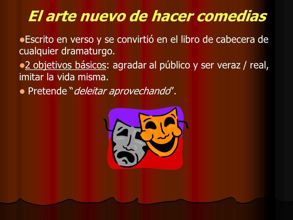 El arte nuevo de hacer comedias Escrito en verso y se convirtió en el libro de cabecera de cualquier dramaturgo. 2 objetivos básicos: agradar al públi
