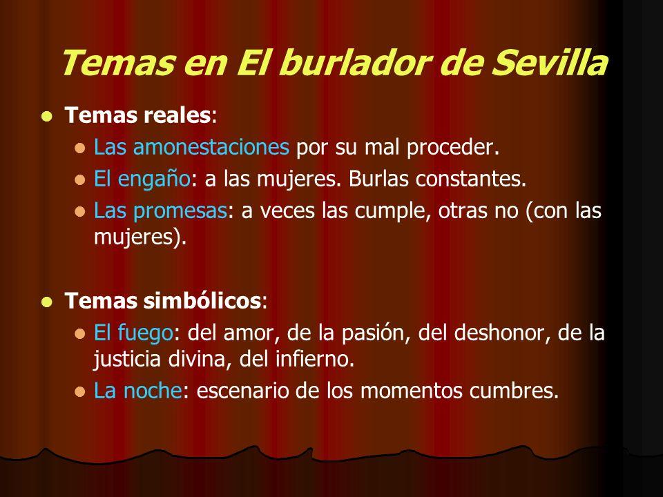 Temas en El burlador de Sevilla Temas reales: Las amonestaciones por su mal proceder. El engaño: a las mujeres. Burlas constantes. Las promesas: a vec