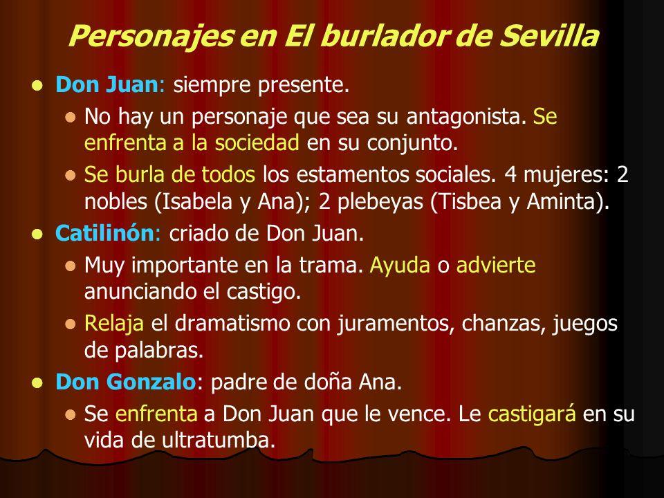 Personajes en El burlador de Sevilla Don Juan: siempre presente. No hay un personaje que sea su antagonista. Se enfrenta a la sociedad en su conjunto.