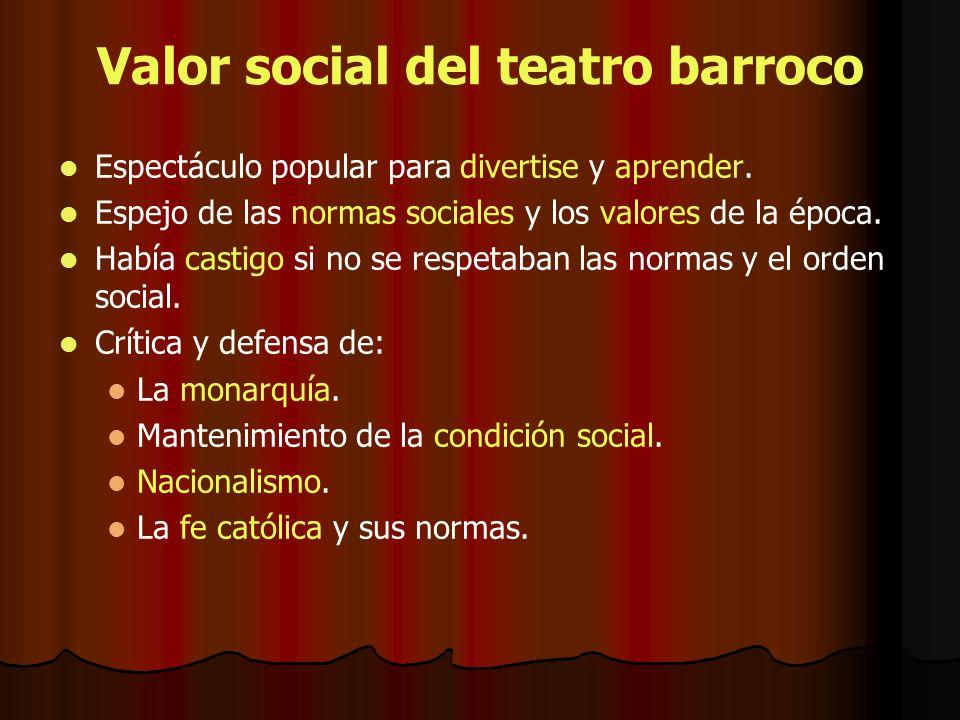 Valor social del teatro barroco Espectáculo popular para divertise y aprender. Espejo de las normas sociales y los valores de la época. Había castigo