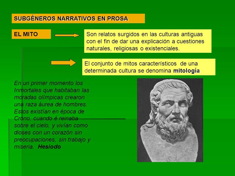 SUBGÉNEROS NARRATIVOS EN PROSA EL MITOSon relatos surgidos en las culturas antiguas con el fin de dar una explicación a cuestiones naturales, religios