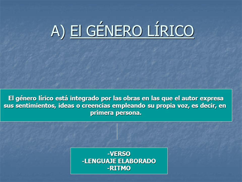 A) El GÉNERO LÍRICO El género lírico está integrado por las obras en las que el autor expresa sus sentimientos, ideas o creencias empleando su propia