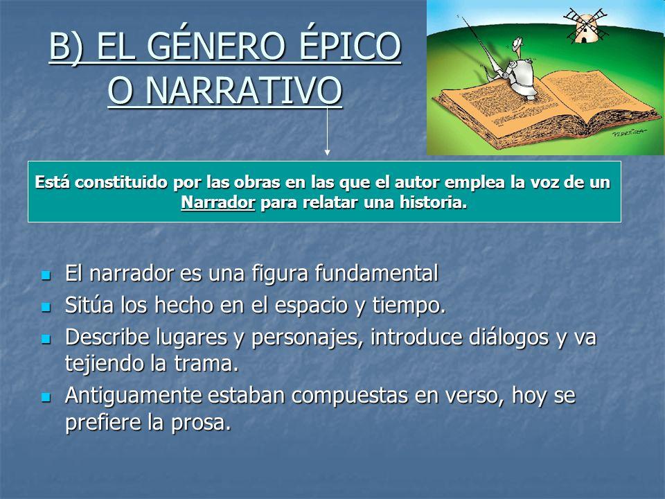 B) EL GÉNERO ÉPICO O NARRATIVO El narrador es una figura fundamental El narrador es una figura fundamental Sitúa los hecho en el espacio y tiempo. Sit