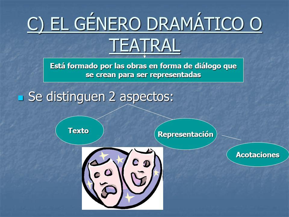 C) EL GÉNERO DRAMÁTICO O TEATRAL Se distinguen 2 aspectos: Se distinguen 2 aspectos: Está formado por las obras en forma de diálogo que se crean para