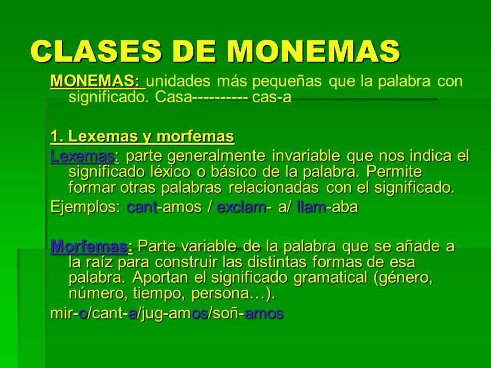 CLASES DE MONEMAS MONEMAS: MONEMAS: unidades más pequeñas que la palabra con significado. Casa---------- cas-a 1. Lexemas y morfemas Lexemas: parte ge