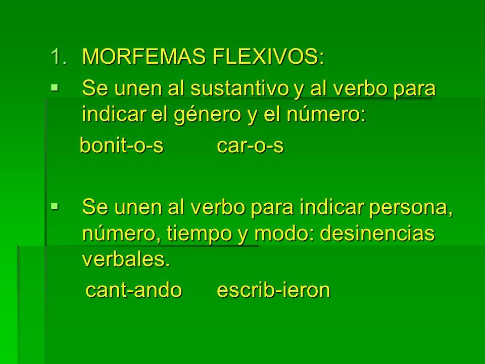 1.MORFEMAS FLEXIVOS: Se unen al sustantivo y al verbo para indicar el género y el número: Se unen al sustantivo y al verbo para indicar el género y el
