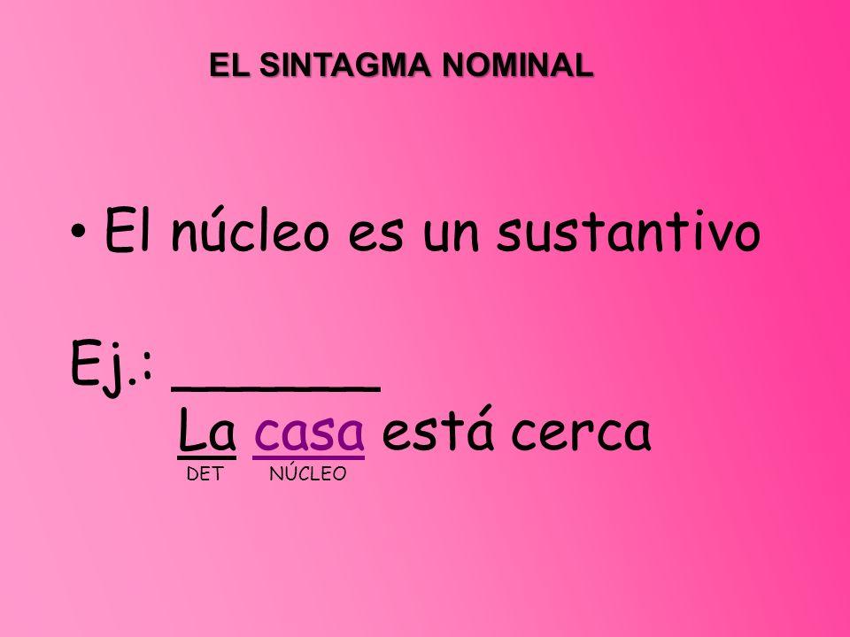 EL SINTAGMA NOMINAL El núcleo es un sustantivo Ej.: ______ La casa está cerca DET NÚCLEO
