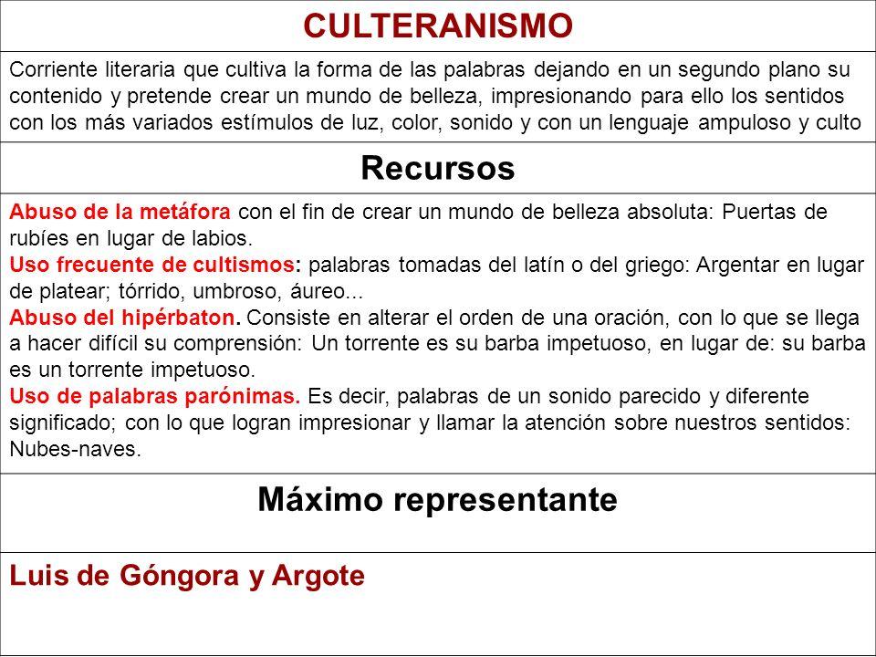 Culteranismo y Conceptismo Culteranismo : persigue la belleza formal Representado por Luis de Góngora Conceptismo: Se fija más en el contenido y prefi