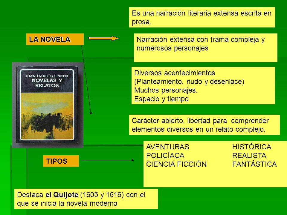 LA NOVELA Es una narración literaria extensa escrita en prosa.