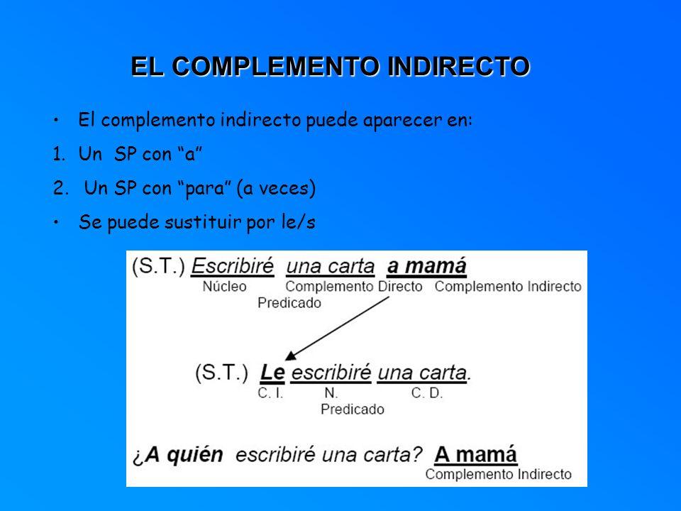 EL COMPLEMENTO INDIRECTO El complemento indirecto puede aparecer en: 1.Un SP con a 2. Un SP con para (a veces) Se puede sustituir por le/s