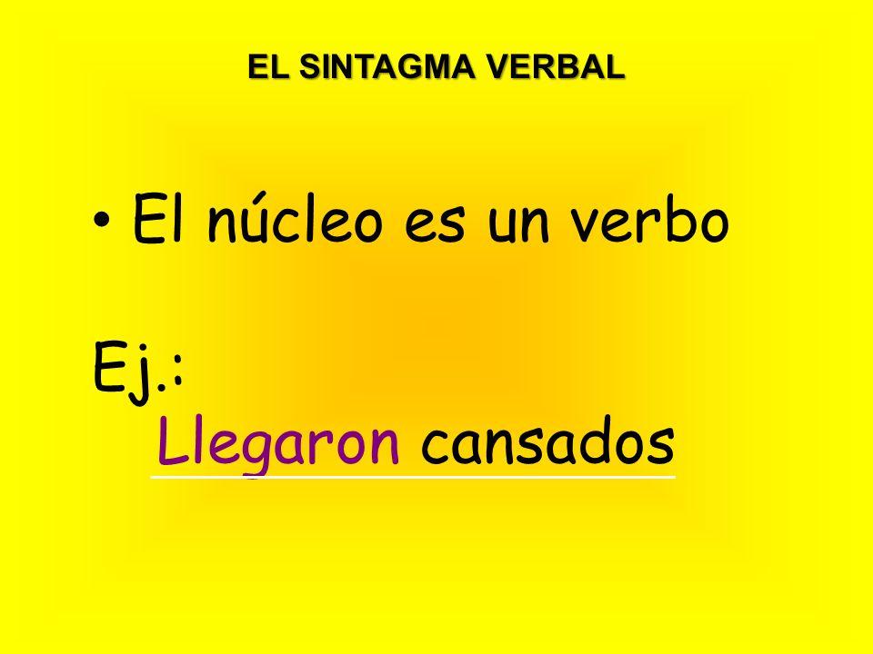 EL SINTAGMA VERBAL El núcleo es un verbo Ej.: Llegaron cansados