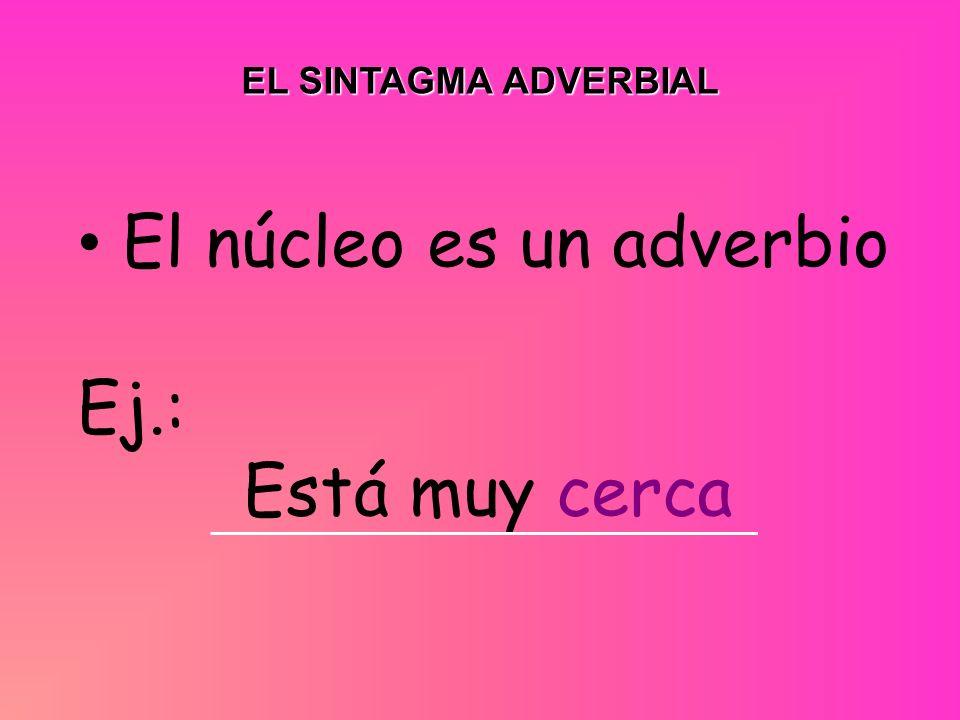 EL SINTAGMA ADVERBIAL El núcleo es un adverbio Ej.: Está muy cerca