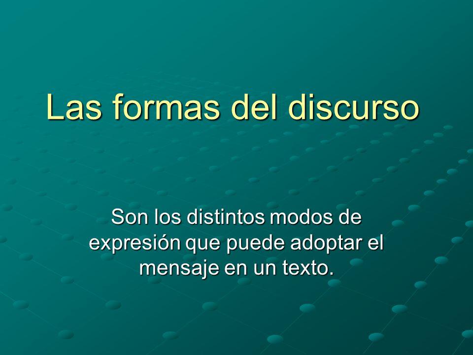 Las formas del discurso Son los distintos modos de expresión que puede adoptar el mensaje en un texto.