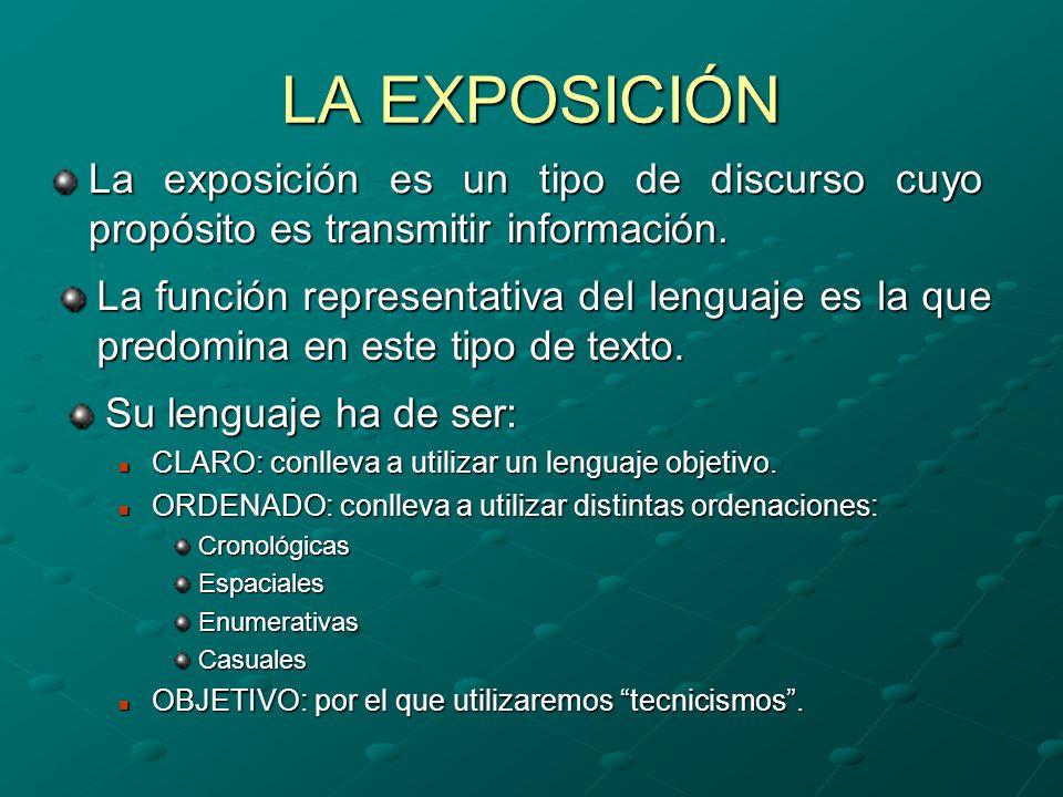 LA EXPOSICIÓN La exposición es un tipo de discurso cuyo propósito es transmitir información. La función representativa del lenguaje es la que predomin