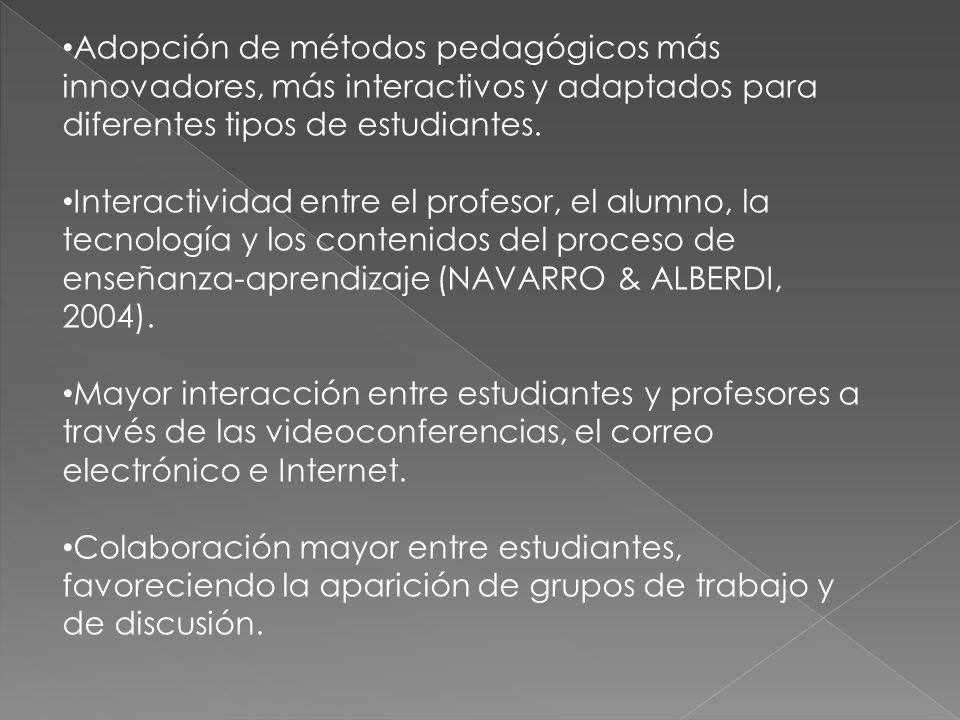 Adopción de métodos pedagógicos más innovadores, más interactivos y adaptados para diferentes tipos de estudiantes. Interactividad entre el profesor,