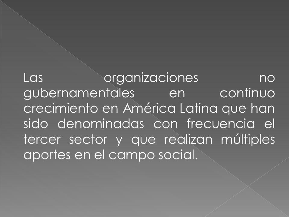 Las organizaciones no gubernamentales en continuo crecimiento en América Latina que han sido denominadas con frecuencia el tercer sector y que realiza