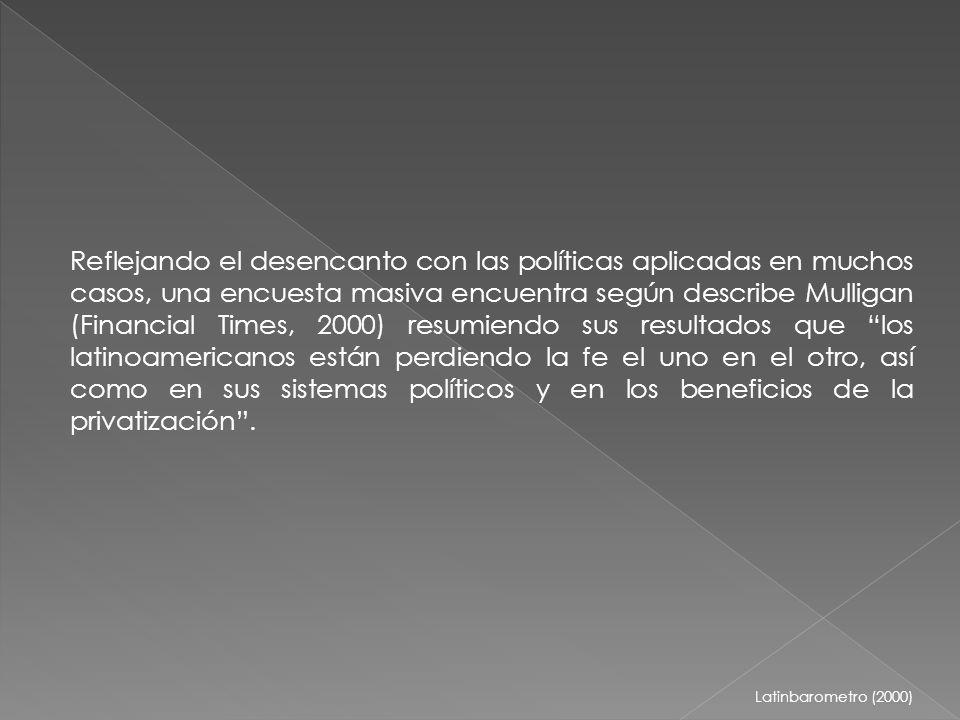 Reflejando el desencanto con las políticas aplicadas en muchos casos, una encuesta masiva encuentra según describe Mulligan (Financial Times, 2000) resumiendo sus resultados que los latinoamericanos están perdiendo la fe el uno en el otro, así como en sus sistemas políticos y en los beneficios de la privatización.