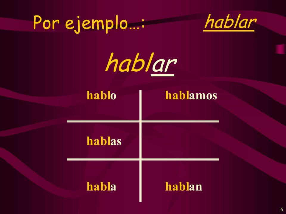 4 To form the present tense: STEM + Verb ending -o -as -a -amos -an Yo Tú él ella usted nosotros nosotras ellos ellas ustedes