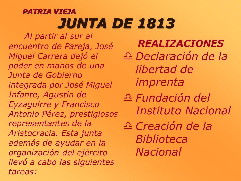 JUNTA DE 1813 Declaración de la libertad de imprenta Fundación del Instituto Nacional Creación de la Biblioteca Nacional PATRIA VIEJA REALIZACIONES Al
