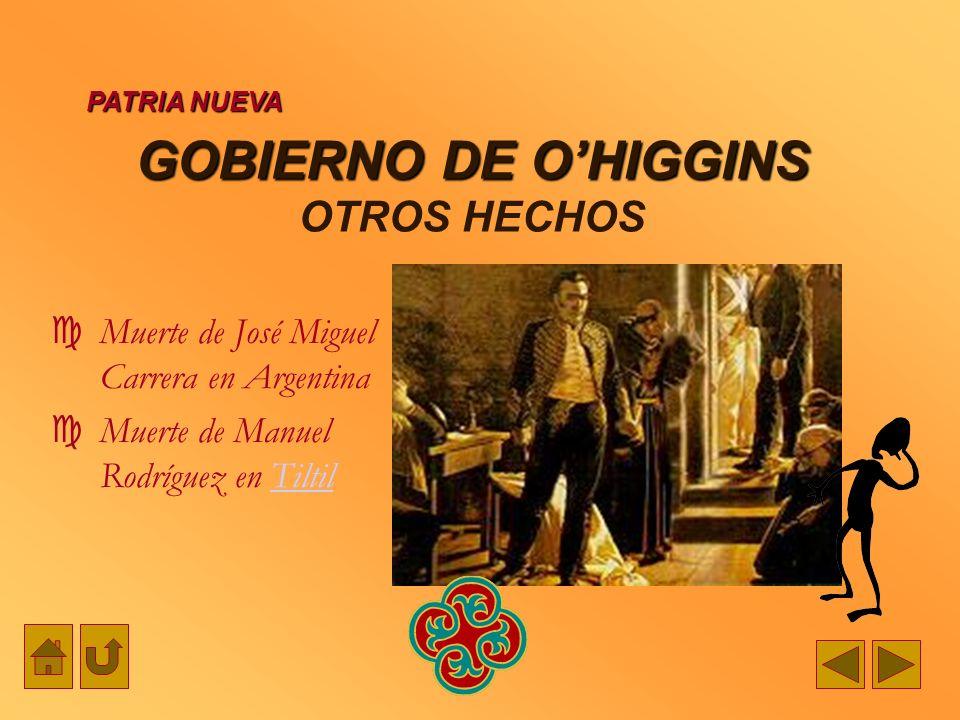 GOBIERNO DE OHIGGINS GOBIERNO DE OHIGGINS OTROS HECHOS PATRIA NUEVA Muerte de José Miguel Carrera en Argentina Muerte de Manuel Rodríguez en TiltilTil
